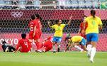 A seleção brasileira abriu o placar do jogo logo aos 9 minutos do primeiro tempo, com gol da camisa 10, Marta