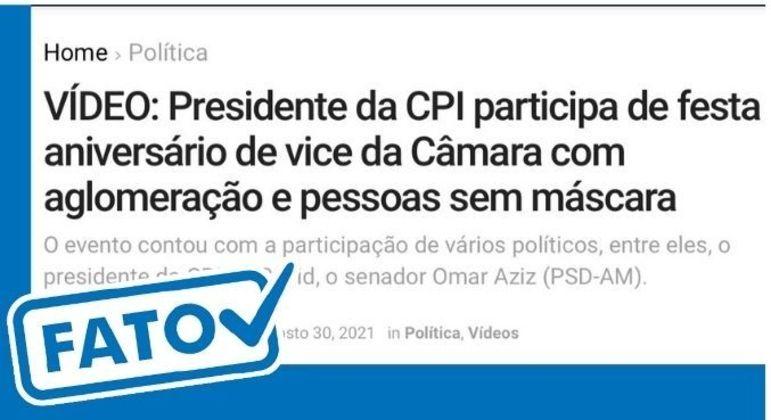 Presidente da CPI da Covid participou de festa de aniversário do vice-líder da Câmara