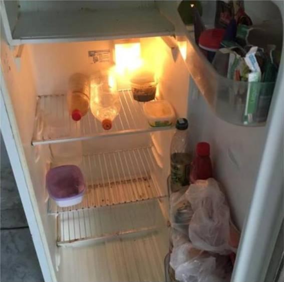Uma das vítimas mandou a foto da geladeira vazia para pedir trabalhos para o aliciador (Reprodução)