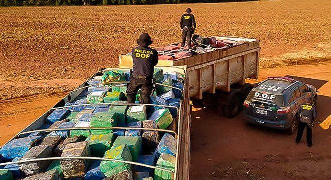Foram apreendidas 33,3 toneladas de maconha