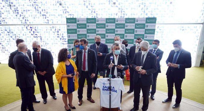 Oposição reunida no Salão Verde da Câmara dos Deputados