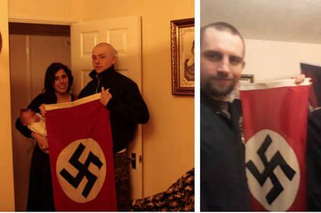 Casal postou foto com bebê e bandeira de suástica