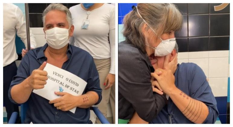 Orlando Morais se emocionou após receber alta hospitalar