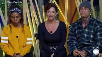 __Luane Dias, Vida Vlatt e Léo Stronda formam a primeira Roça__ (Reprodução)