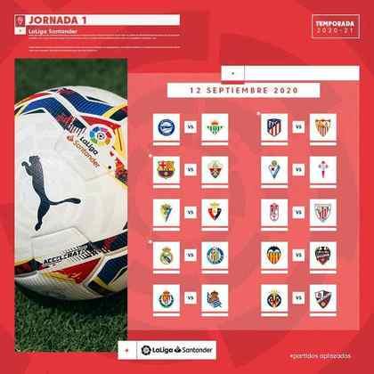 Os jogos da LaLiga começam neste final de semana, com jogos nos dois dias. O primeiro compromisso é entre Eibar e Celta de Vigo, às 11h de sábado, e o último será no domingo, entre Valencia e Levante, às 16h.
