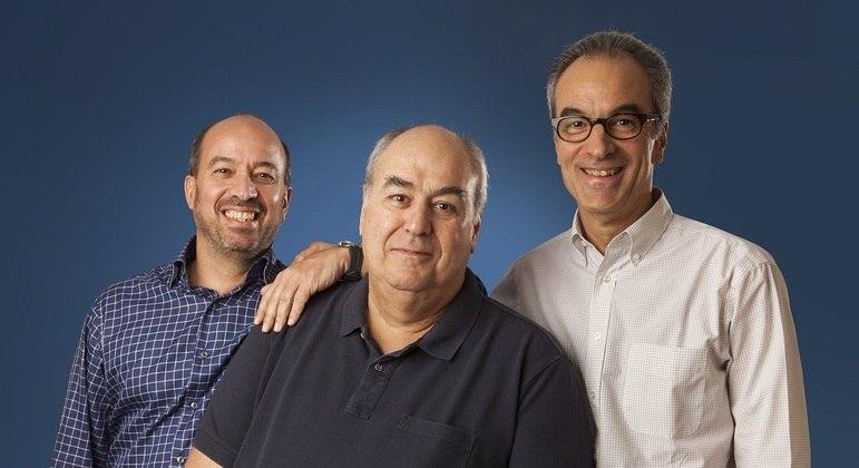 Os irmãos Marinho,  José Roberto, Roberto Irineu e João Roberto