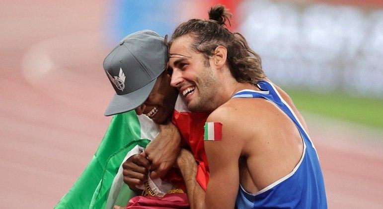 Gianmarco Tamberi e Essa Barshim empataram na final do salto em altura e levaram ouro duplo