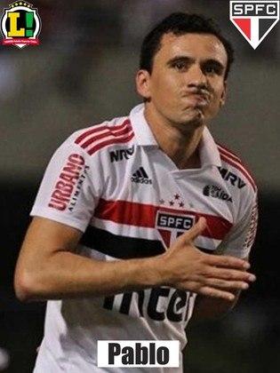 Pablo - 9,0 - Em sua centésima partida pelo Tricolor, o atacante marcou três gols e deu uma assistência, fazendo um atuação incrível.