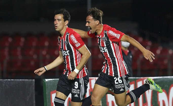 Pablo - São Paulo 2 X 3 Red Bull Bragantino - Quarto gol do camisa 9 na competição, de cabeça após cruzamento de Reinaldo, foi o primeiro do São Paulo na volta do Estadual.