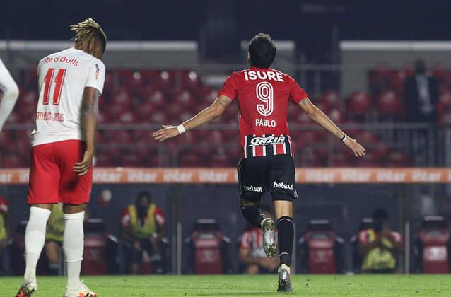 Pablo - São Paulo 2 X 3 Red Bull Bragantino - Quinto gol do camisa 9 na competição o colocou na frente de Daniel Alves na artilharia do time. O camisa 10, aliás, foi quem rolou a bola para o chute de fora da área