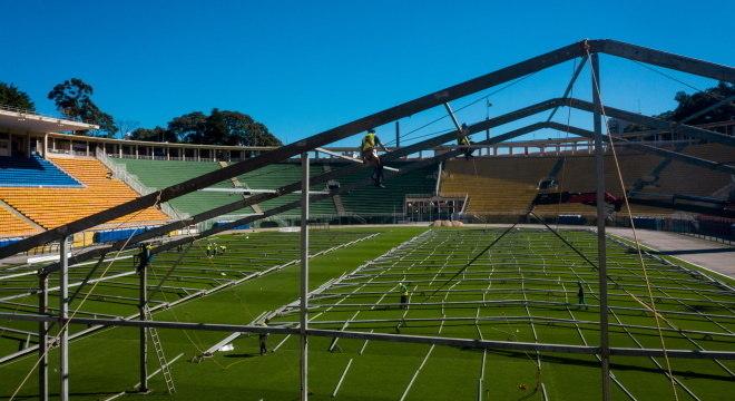 Serão construídos 200 leitos no estádio do Pacaembu