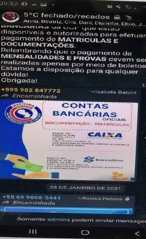 Contas bancárias para pagamentos de mensalidades da UCP no Brasil (Reprodução)