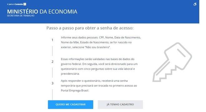 Página para solicitar o seguro-desemprego