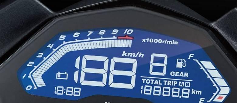 Painel da DR 160 é completo com conta-giros e indicador de marcha
