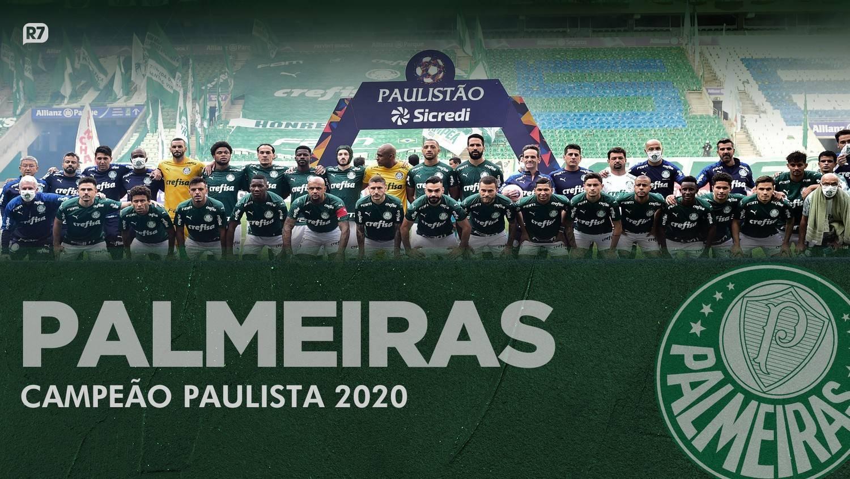 Elenco palmeirense campeão paulista de 2020