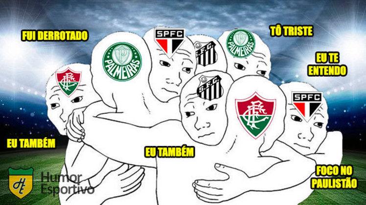 Palmeiras, Santos, São Paulo e Fluminense foram derrotados nos jogos desta terça-feira (18). Fato não escapou das brincadeiras dos torcedores. Confira! (Por Humor Esportivo)