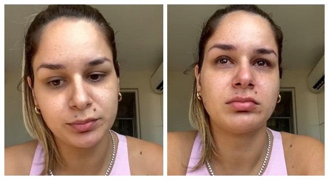 Pamella chorou ao falar da estratégia da defesa do ex: 'Querem me pintar de louca'