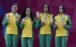 Tamires Santos, Fabiana Silva, Jaqueline Lima e Samia Lima foram bronze no badminton nas duplas femininas