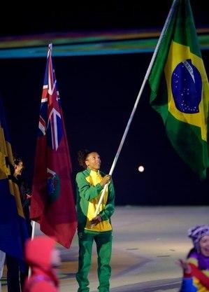 Rafa foi porta-bandeira no Pan