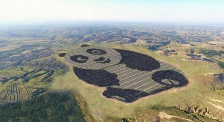 Estação de energia em formato de panda, na China