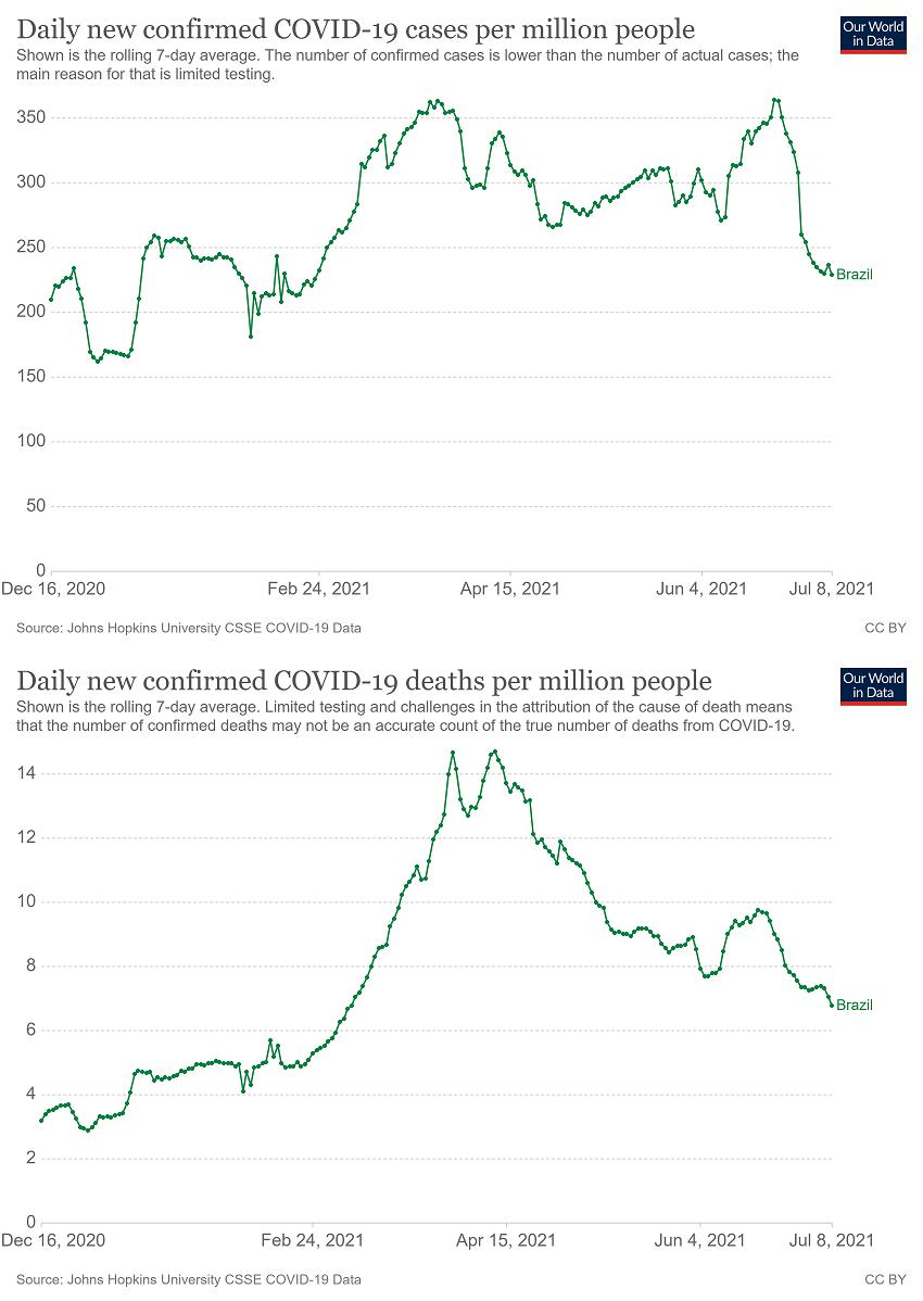Gráfico mostra que apesar de alta dos casos, Brasil teve queda das mortes desde abril