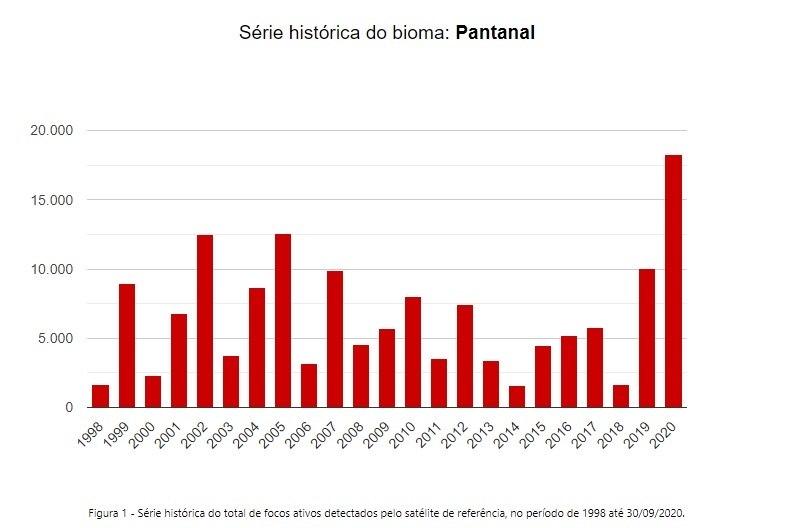 Veja o índice das queimadas no Pantanal desde 1998 entre janeiro e setembro