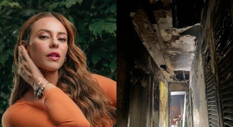 Atriz  compartilhou imagens de parte do imóvel destruído pelo fogo nas redes sociais