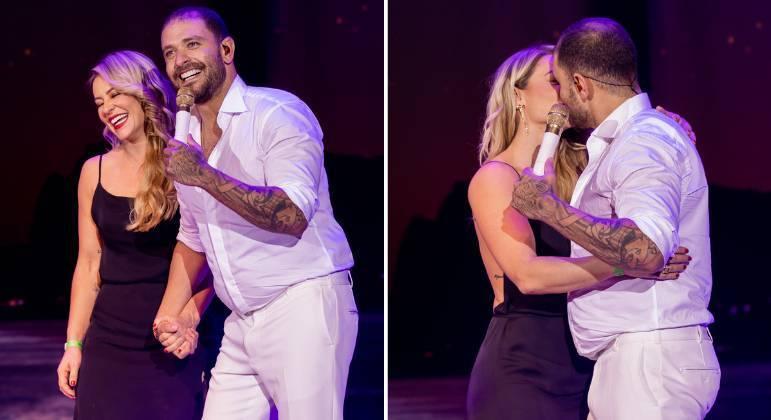 Paolla Oliveira e Diogo Nogueira trocam beijos em show em SP