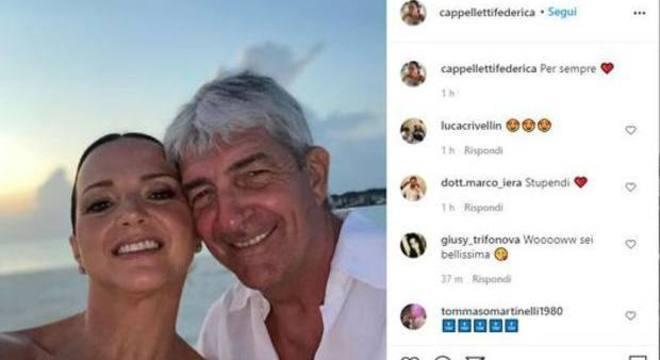 Com Federica, no Instagram da esposa