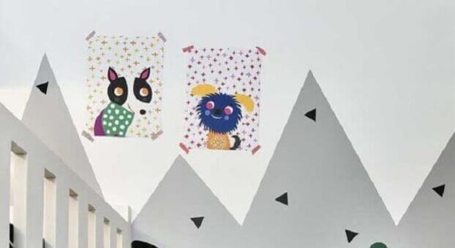 papel de parede para quarto infantil cinza