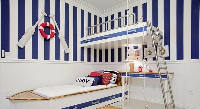 papel de parede para quarto infantil com tema marinheiro