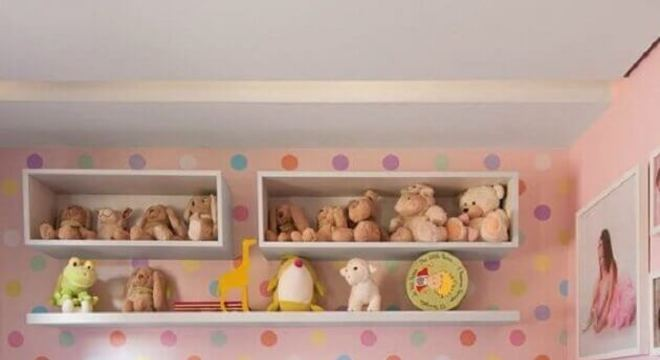 papel de parede para quarto infantil feminino com bolinhas coloridas Foto Casa de Valentina