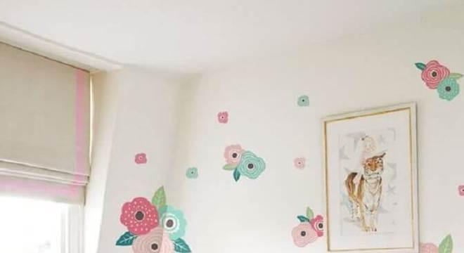 papel de parede para quarto infantil feminino com desenho de flores grandes