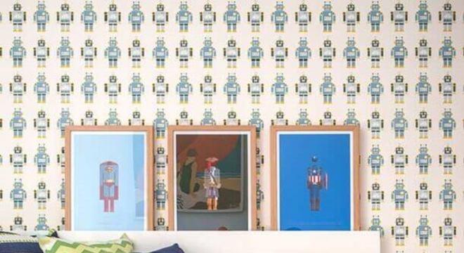 papel de parede para quarto infantil masculino com desenhos de robôs