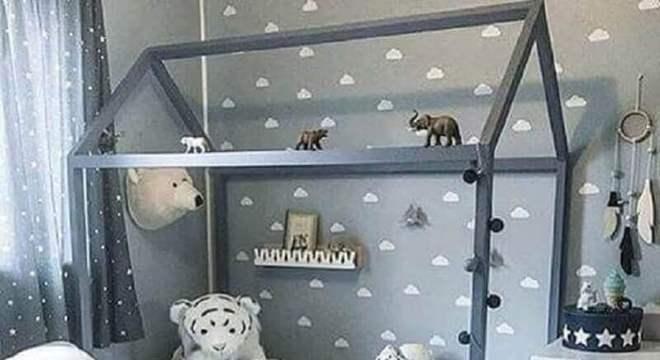 papel de parede para quarto infantil masculino montessoriano cinza e branco