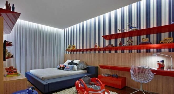 papel de parede para quarto infantil masculino vermelho e azul