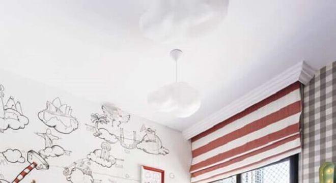 papel de parede para quarto infantil vermelho branco e preto