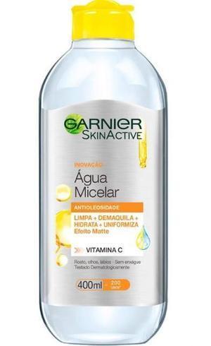 Água Micelar Antioleosidade de Garnier SkinActive contém vitamina C antioxidante