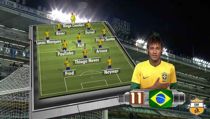 Para finalizar, fugindo do padrão de clubes, colocamos uma Seleção Brasileira apenas com os jogadores que atuavam no Brasil para o Superclássico das Américas de 2012.
