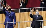 Andrew Parsons, presidente do Comitê Paralímpico, e Naruhito, imperador do Japão, marcaram presença na cerimônia de abertura das Paralimpíadas de Tóquio 2020