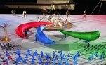 Durante a cerimônia de abertura, o símbolo dos Jogos Paralímpicos foi reproduzido por dançarinos em performance no centro do Estádio Nacional de Tóquio