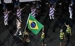 Evelyn Oliveira, atleta paralímpica de bocha e porta-bandeira do Brasil nesta cerimônia de abertura, conquistou a medalha de ouro nos Jogos Paralímpicos Rio 2016