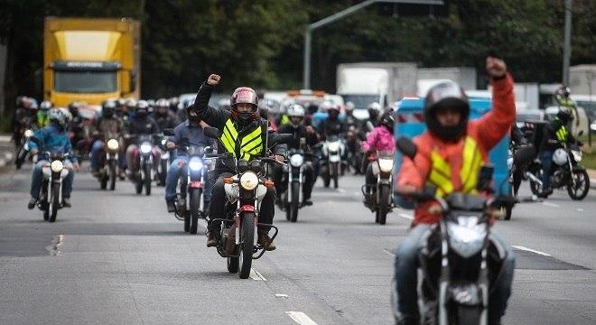 Manifestação de entregadores no dia 1º de julho, em São Paulo