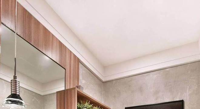 parede de cimento queimado com nichos de madeira