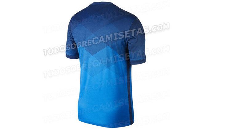 Parte de trás da nova camisa reserva da seleção brasileira