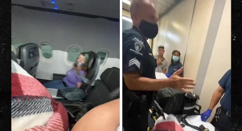 Internauta gravou a mulher presa ao assento e a maca que seria usada para levá-la