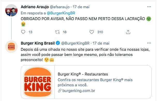 Burger King recomendou a internauta passar longe das próprias lojas após comentário