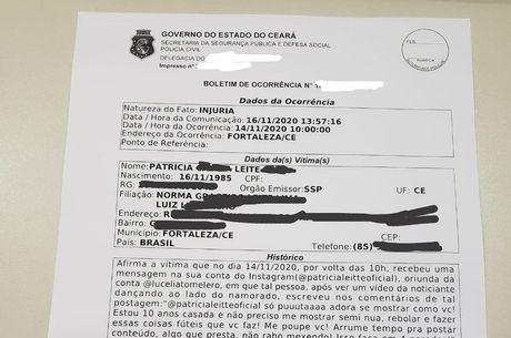 A ex-BBB Patrícia Leitte compartilhou foto do B.O