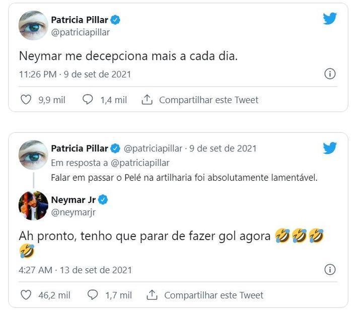 Patricia questiona Neymar. O jogador decide ironizar a atriz, em vez de explicar o que quis dizer