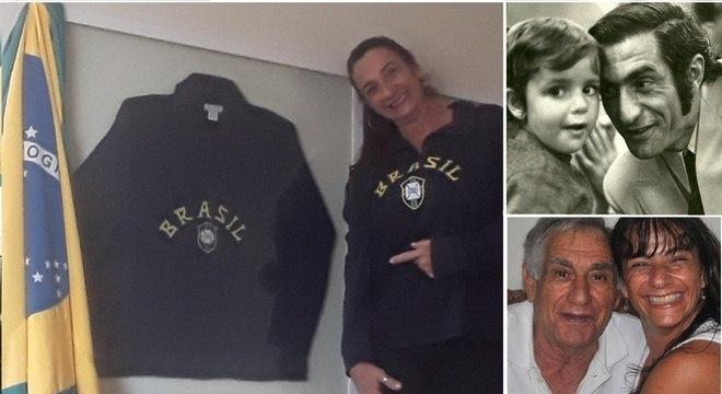 Patrícia Venerando, filha de Félix, mostra a camisa que ele usou na final da Copa de 1970